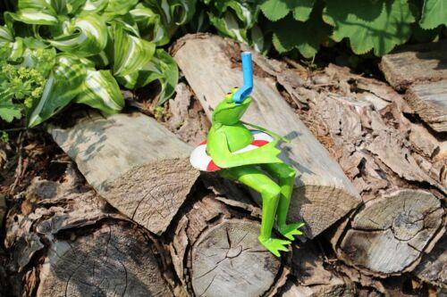 Gartenfigur Frosch Taucher Gartendeko Dekofigur schnorcheln Rettungsring