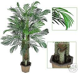 3 Artificial Robellini Palm in One Pot Trees Silk Plant Potted 6'