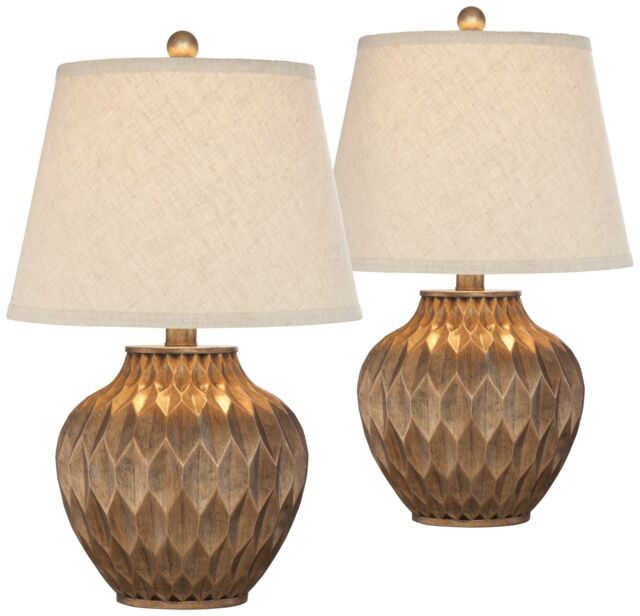 Modern Accent Table Lamps Set Of 2 Warm Bronze Urn For Living Room Bedroom