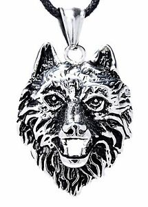 Wolf's Head Chains pendant IN Stainless Steel With Band / Curb Chain,Wolf Nr.29A