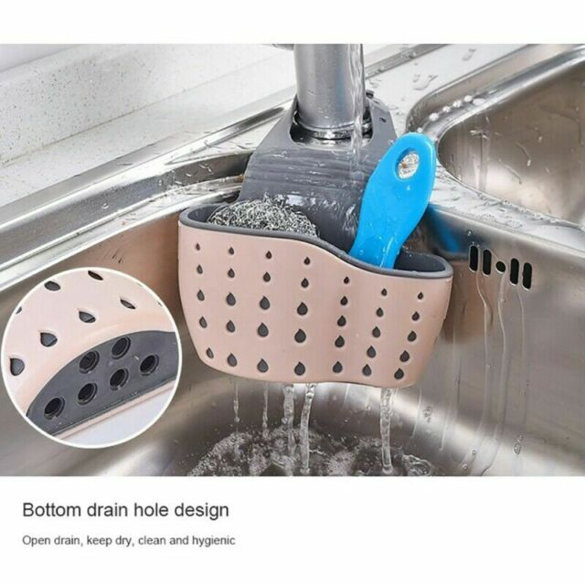 Kitchen Sponge Drain Holder Storage Rack Basket Wash Soap Shelf Organiser P3