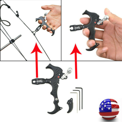 US Compound Archery Bow Release Aids 3 Or 4 Finger Grip Thumb Caliper Trigger