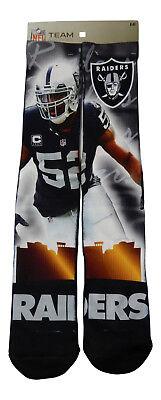 promo code 6d29a 6192f NEW! Pair Khalil Mack Oakland Raiders City Star Large Multi Color Crew  Socks NFL | eBay