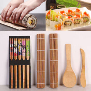 Details About Bamboo Sushi Making Kit Sushi Mat Rice Spreader With Chopsticks Mold For Kitchen