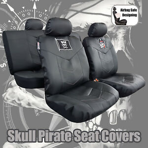 Awe Inspiring Details About All Black Leatherette Leather Look Pirate Skull Embroidery Car Seat Covers Set Machost Co Dining Chair Design Ideas Machostcouk