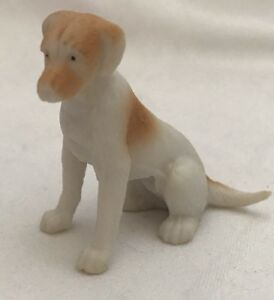 White-And-Tan-Puppy-Dog-Sitting-Dollhouse-miniature-pet-One-and-a-half-inches