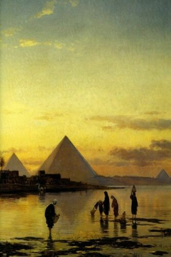 190535 ON THE NILE EGYPT RIVER PYRAMIDS ORIENTALIST Wall Print Poster CA