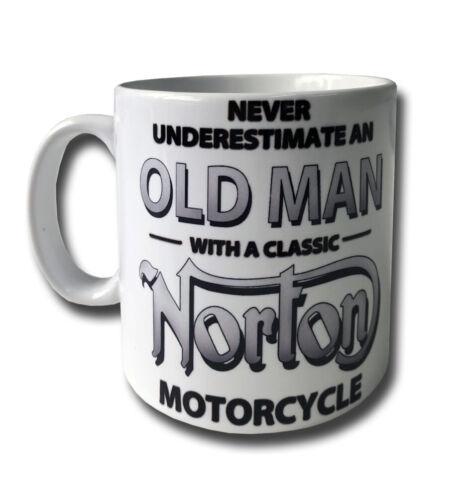 NORTON  NEVER UNDERESTIMATE AN OLD MAN WITH A.. 11 OZ GLAZED WHITE CERAMIC MUG.