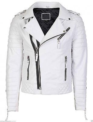 Men's Genuine Lambskin Leather Jacket White Slim fit Biker Motorcycle jacket-198