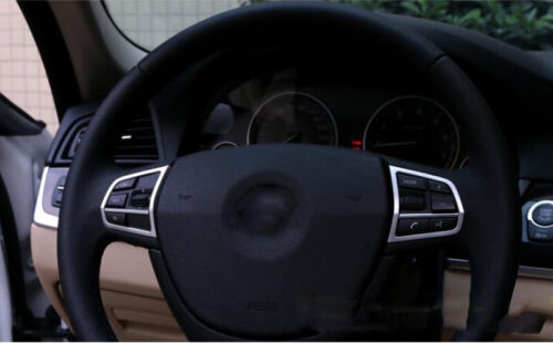 10-15 For BMW 7 Series F01 Interior Steering Wheel Button Decor Cover Trim 2pcs