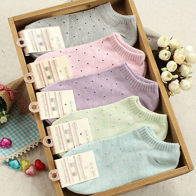 Women's Fresh Cute Polka Dot Socks Candy Colors Cotton Ankle Socks Soft Seasons