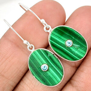 Centre-Of-Universe-039-Malachite-925-Sterling-Silver-Earring-Jewelry-EE75343
