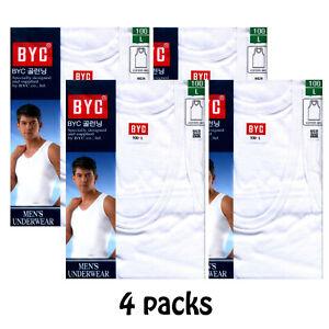 BYC Men's Tank top Underwear Undershirts White Cotton 100% U-neck 4 Packs  Korea | eBay