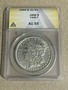 1886-P Nice Philadelphia Minted ANACS AU55 VAM-7 Morgan Silver Dollar