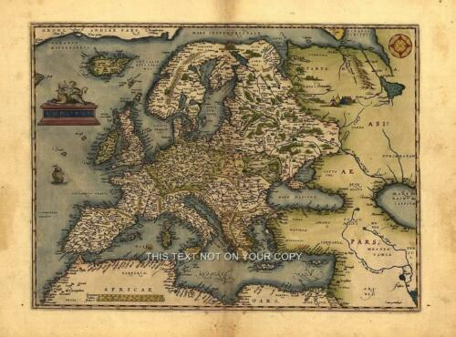 Large European Map A1 Size 30 x 23 inch Old Ortelius Europe New Antique Colour