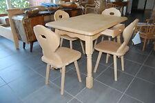 Landhaus Tisch Gruppe Amberg Tisch 120cmx80cm + 4 Stuhle Fichte massiv gewachst