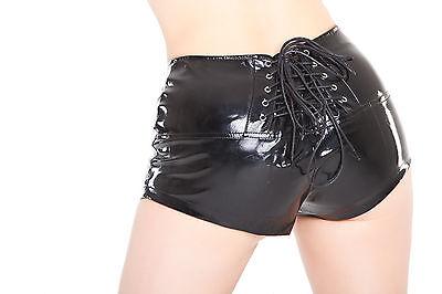Lackina: crisp paint hot pants with lacing, size S - 4XL