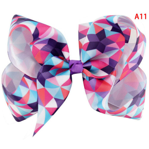 """5/"""" Rainbow hair bow with clips for kids girls boutique plaid printed ribbon bow/&"""