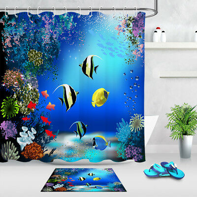 "71/""x71/"" Waterproof Bath Shower Curtain Mat Set Ocean Dolphin Fish Undersea World"