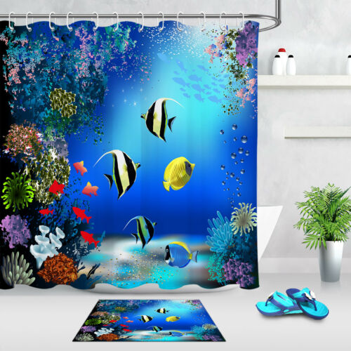 """Multicolore Underwater Coloré Poisson Rideau De Douche Tapis de bain Set Tissu 71//79/"""""""