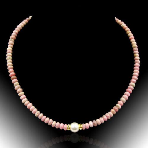 BAILYSBEADS edle Andenopal Rosa Opal Halskette Kette mit MK Perle X003
