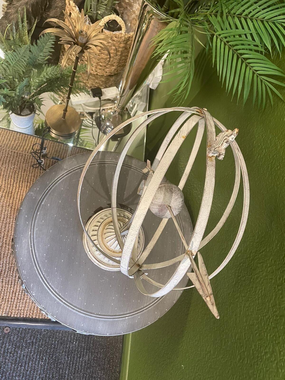 Armillary Sundial Sphere , light metal White Sphere garden decor / Interior