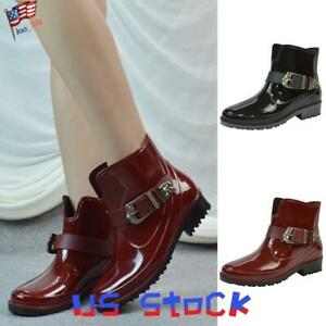 Women-Waterproof-Wellies-Snow-Rain-Shoes-Chelsea-Ankle-Boots-Buckle-Mid-Calf-US