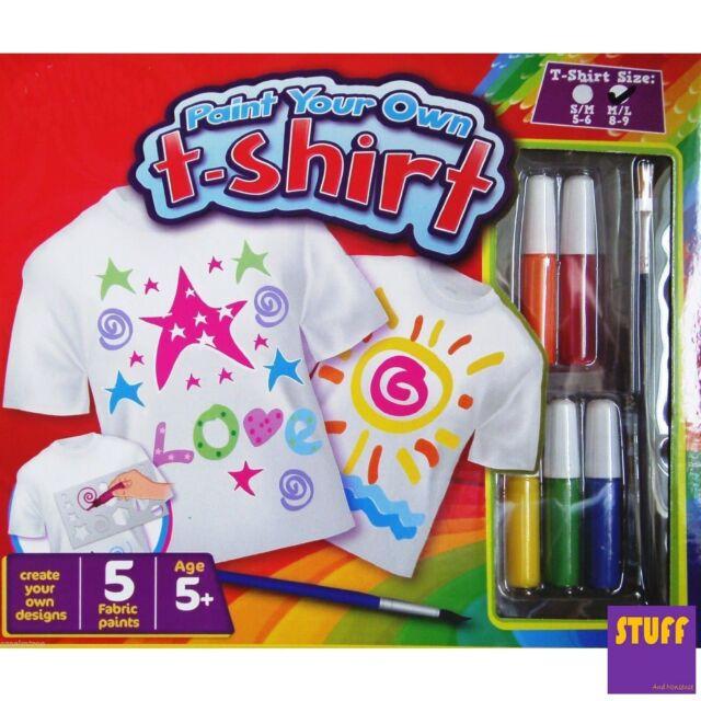 2x Design Paint Your Own T Shirt Set Children Christmas Fabric Stencil Grafix