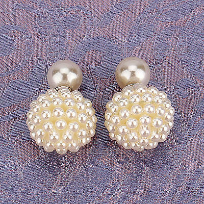 Elegant Women Lady Fashion Jewelry Double Sided Pearl Beads Earrings Ear Studs