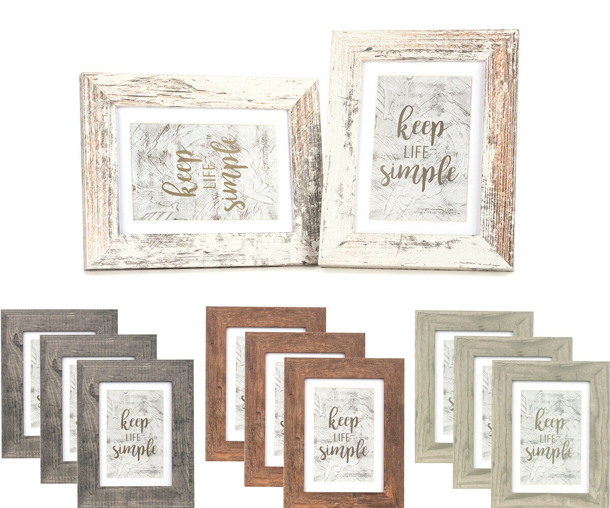 4x6 Wooden Photo Picture Frame Wall Hanging Rustic Weathered Wood Decor 5x7
