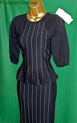 NEW KAREN MILLEN Blue Chalk Stripe Stretch Knit BodyCon Peplum Dress 6 8 *LAST 1