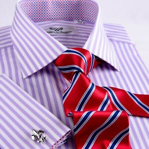 Mens-Lilac-Herringbone-Formal-Business-Dress-Shirt-Soft-Purple-Striped-Boss-A