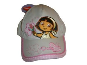 DORA-THE-EXPLORER-Baseball-Hat-Cap-Tan-amp-Pink-Embroider-Flowers-Youth-Girl-039-s-NWT