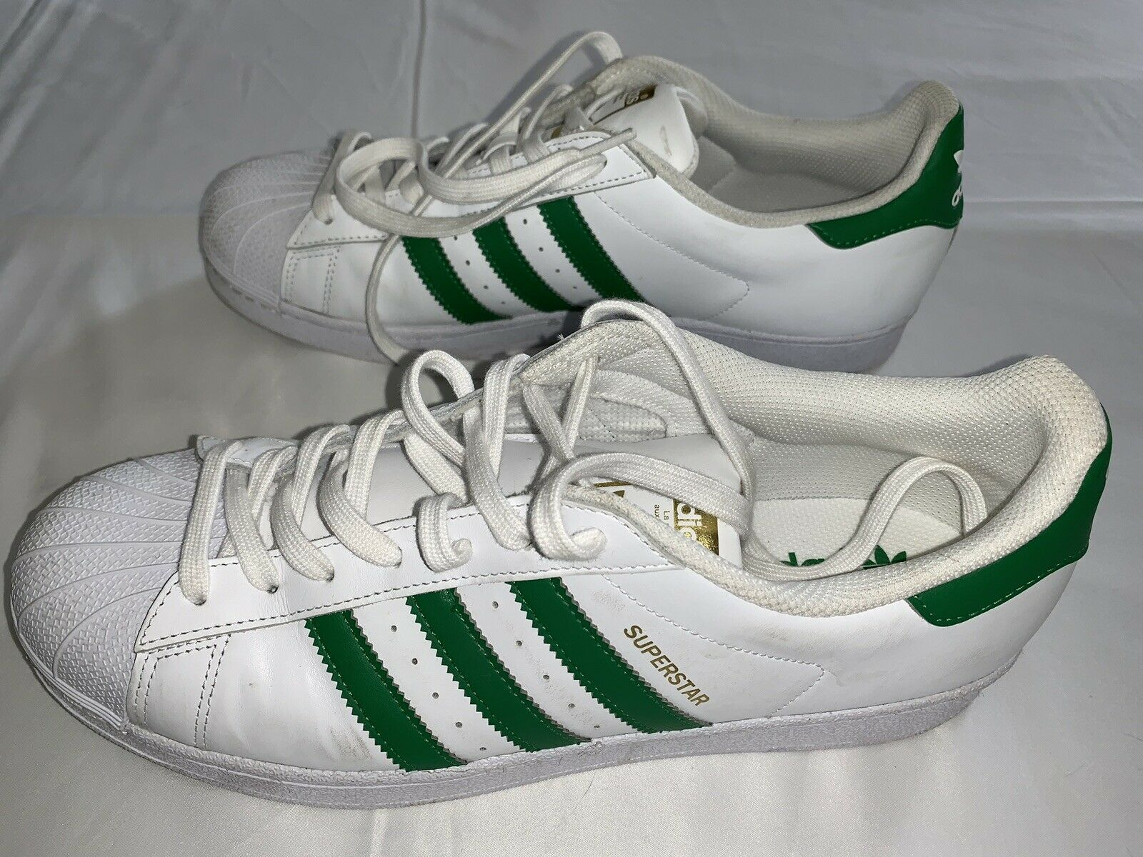 new style a5961 9e16f adidas Superstar Shoes White & Green Mens Size 11 SNEAKERS PGD 789006 Gold
