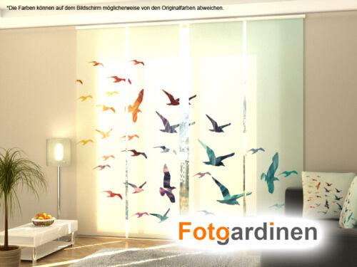 Fotogardinen Vögel Maßanfertigung Schiebevorhang Schiebegardinen 3D Fotodruck