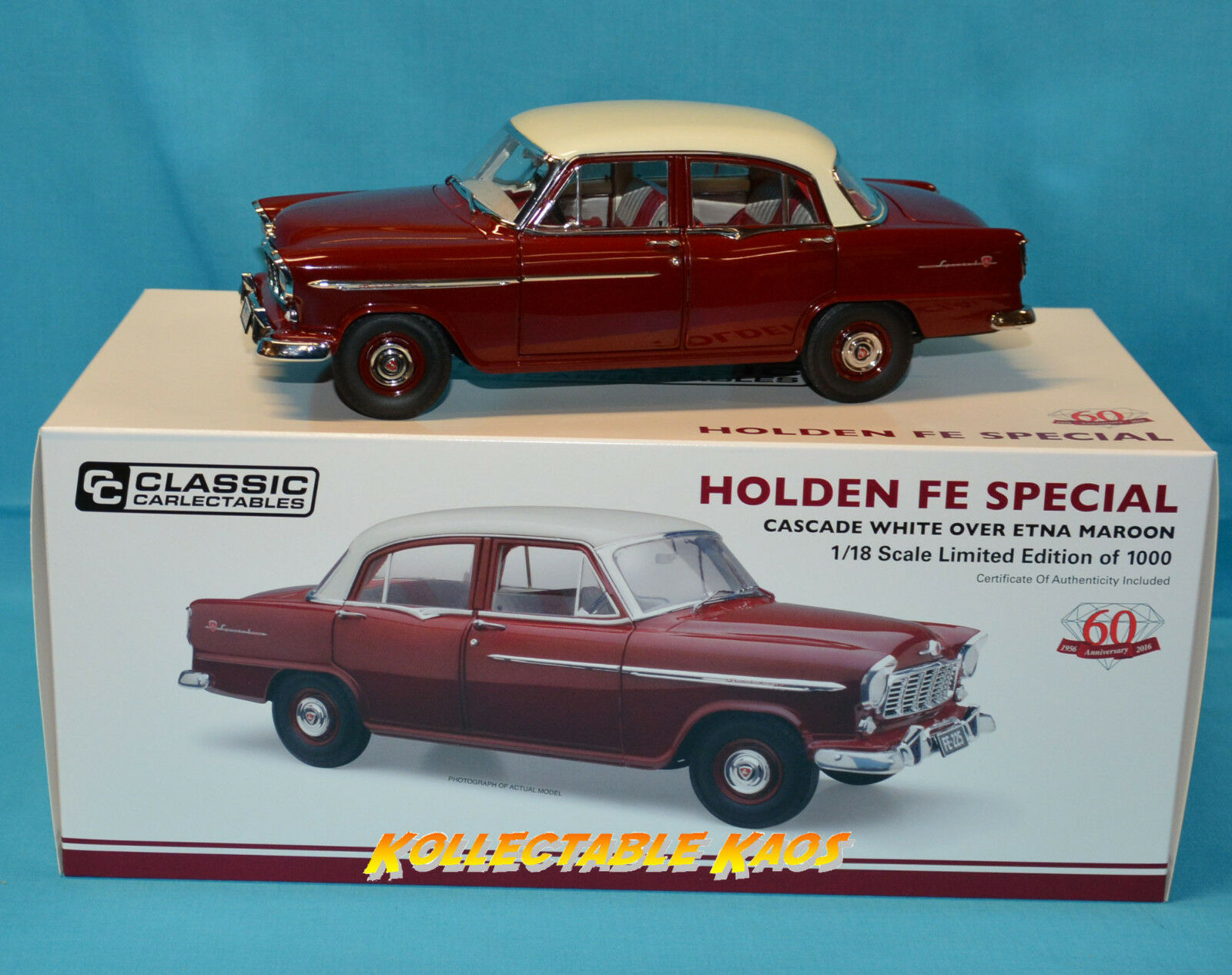 1 18 Classic Carlectible 1956 Holden FE Special - Case blanc Over Etna Maroon