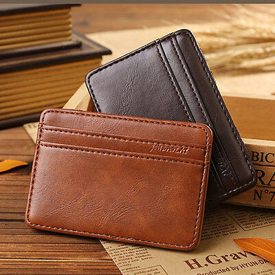 Magic Wallet slim money clip credit card holder ID business mens leather Brown