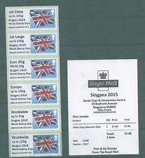 Gb Singapur 2015 bandera de la Unión puesto e irme de tiras de 6 Con Sg prefijo y recibo