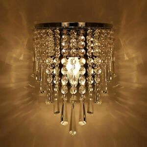Details About Living Room Lamps Wall Sconce Elegant Crystal Shade Less Lighting Home Decor Led