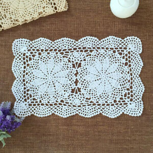 """4Pcs/Lot White Vintage Doilies Hand Crochet Lace Doily Table Runner Mat 10""""x17"""""""