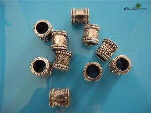 10 PCs Tibetan Carved Silver Metal Beads Set - Dreadlock Beads dread beads A04