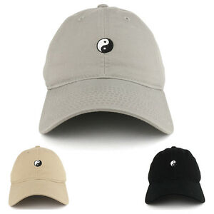 Small Yin Yang Embroidered Washed Cotton Soft Crown Adjustable Dad ... 4680918e8fe