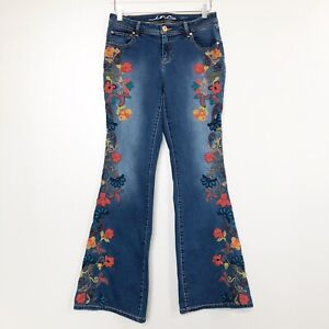 Anna-Sui-INC-Womens-Jeans-Floral-Embroidered-Curvy-Fit-Flare-Leg-Stretch-Denim