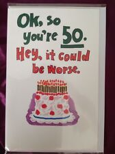Clintons 50 50th Birthday Card Free P&P