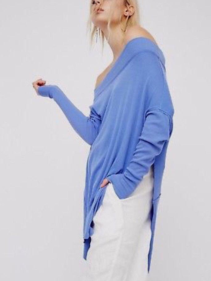 Free People Grapevine Long Sleeve Hi-Low Stretch Knit Tunic Tee Sky Blau