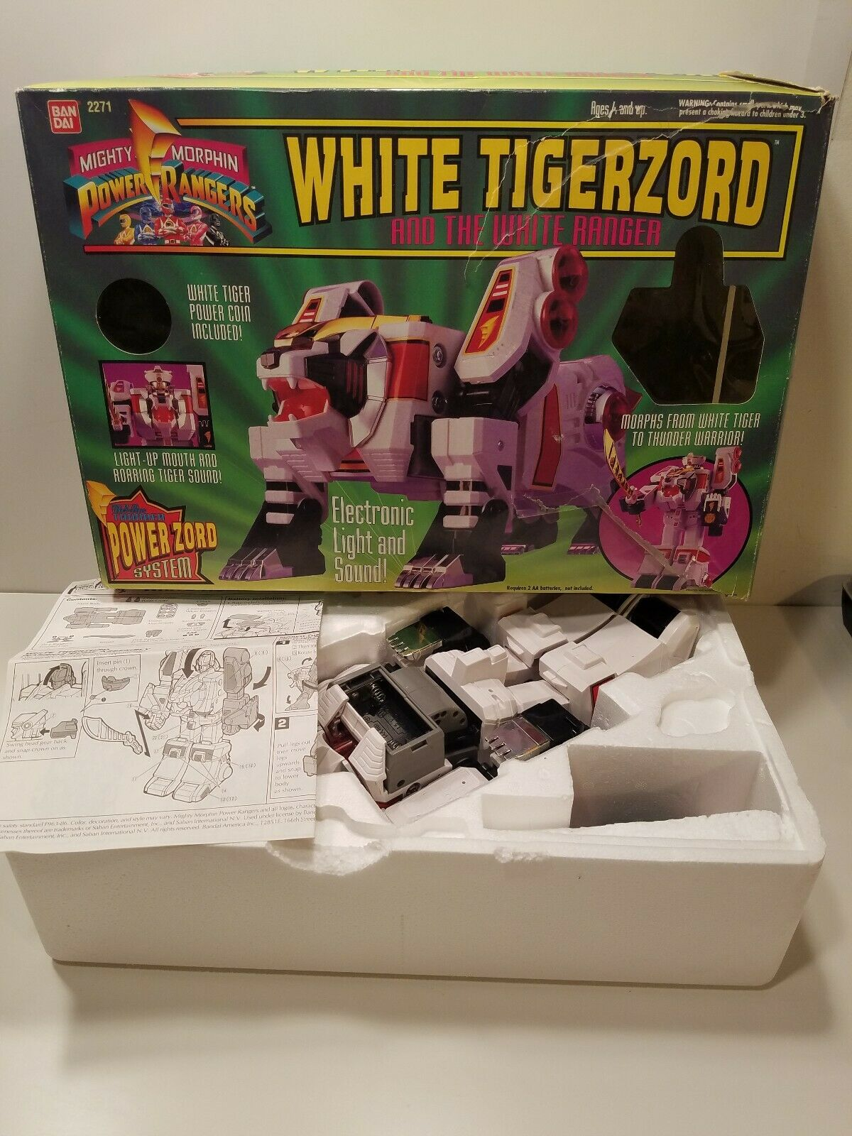 Mighty Morphin Power Rangers bianca Tigerzord 1994. Used with Box