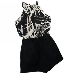 River-Island-Playsuit-Party-Clubbing-Dance-Monochrome-Black-White-Size-6