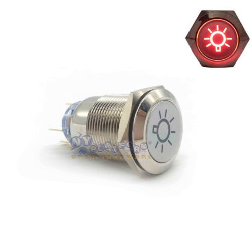 19mm Dome Light Switch Red LED Push Button Latching Switch Fog Light Car plug US