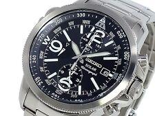 Seiko Mens Chronograph Solar 100m Watch SSC075 SSC075P1 Warranty, Box, RRP:£330