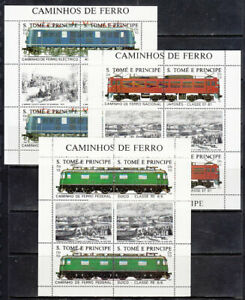 Saint-Thomas-And-Prince-Mail-Yvert-909-14-Minipliegos-MNH-Trains